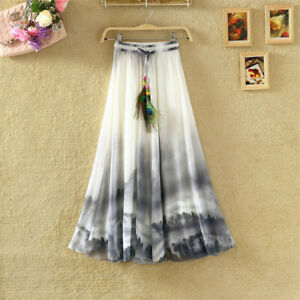 Women-Floral-Bohemia-Chiffon-Maxi-Long-Skirt-Elastic-Waist-Summer-Beach-Dress