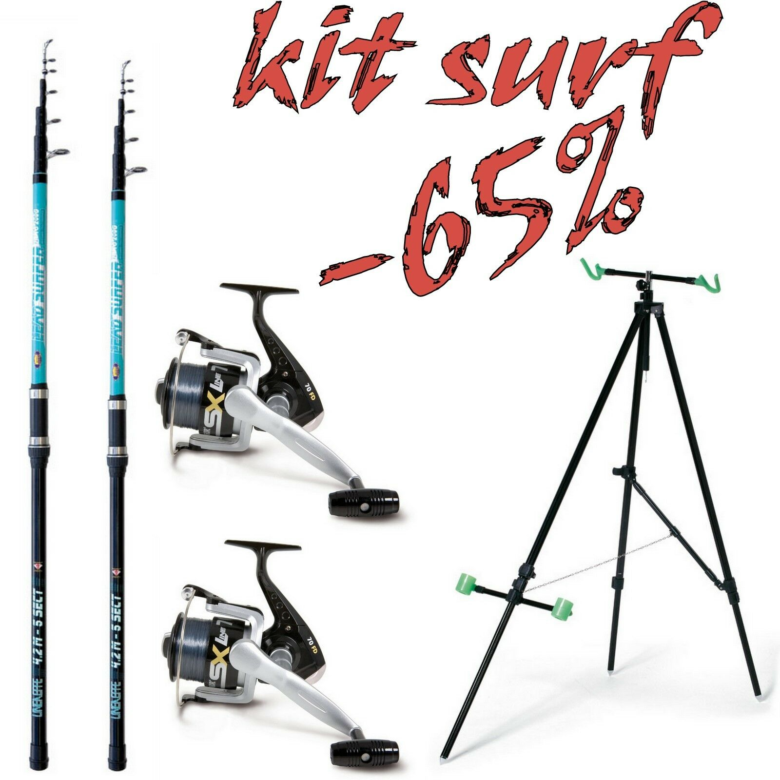 KIT SURF 2 2 2 CANNE PESCA SURFCASTING LEAD  + 2 MULINELLO 60 + TRIPODE SURF MARE 196879