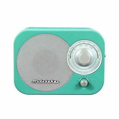 Studebaker SB2000TS Teal//Silver Retro Classic Portable AM//FM Radio with Aux Input