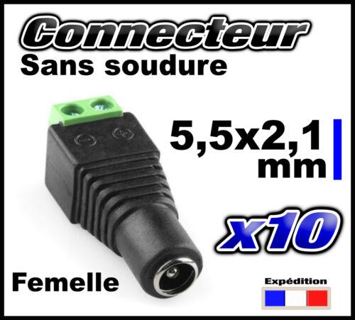 874F/10# connecteur alimentation 5,5 x 2,1mm femelle 10pcs -- sans soudure
