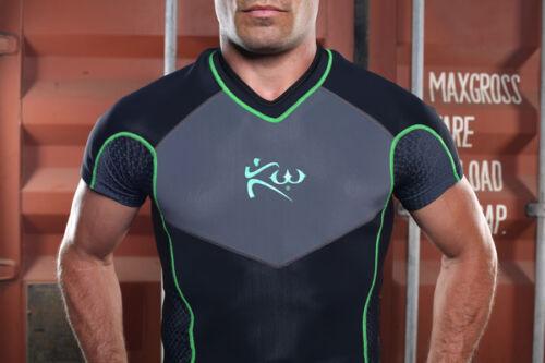 Kutting Weight Sauna Suit Weight Loss Neoprene Black /& Green Workout T-Shirt