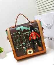 UK Womens Ladies Brown Tan PU Leather Fashion Tote Satchel Messenger Bag Handbag