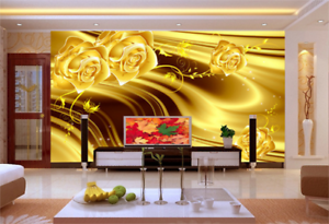 3D Luxury gold Flower 7553 Wall Paper Wall Print Decal Wall AJ WALLPAPER CA