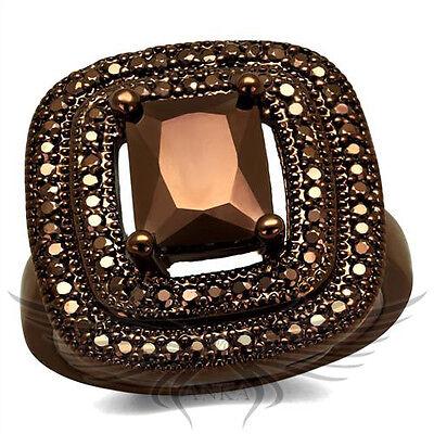Brilliant 2.6c Emerald Cubic Zircon CZ AAA Coffee Ion Plated Fashion Ring 3W1128