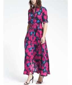 NEW-BANANA-REPUBLIC-FLORAL-MAXI-SHIRT-DRESS-BRIGHT-MAGENTA