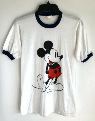 Vintage 70's Mickey Mouse Ringer T-Shirt Men Size