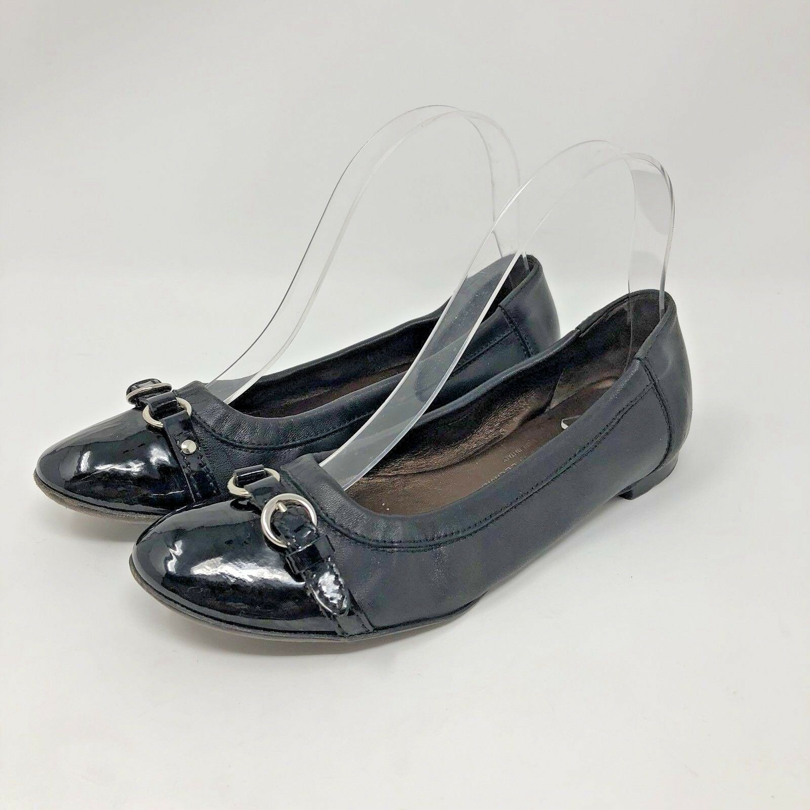 AGL Leather Ballet Flats 36 Black Patent Cap Toe Buckle Belted Slip On Shoes