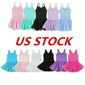 US-Toddler-Girls-Ballet-Dance-Leotard-Kids-Dress-Gymnastics-Tutu-Skirt-Dancewear