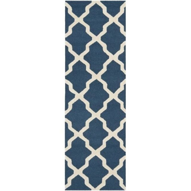 Safavieh Cambridge Cam121g 2 6 X 16 Navy Blue Ivory Rug For Sale Online Ebay