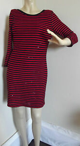 8671ddb357 EXPRESS XS RED BLACK STRIPED SEQUINED SWEATER DRESS shift SEQUINS ...
