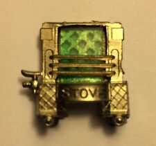 VTG Green Miniature Metal Stove Charm Prize Gum ball Machine Cracker Jack Japan
