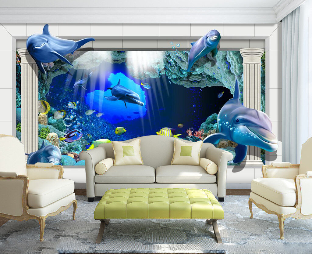 3D Dolphins, many fish Wall Paper Wall Print Decal Wall Indoor AJ Wall Paper