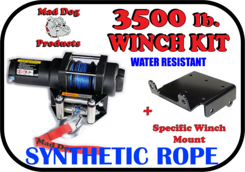 3500lb Mad Dog Synthetic Winch//Mount for Arctic Cat Prowler 550 650 700 1000