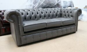 CHESTERFIELD-TUFTED-BUTTONED-3-SEATER-SOFA-COUCH-ITALIAN-GREY-LEATHER-BONDED