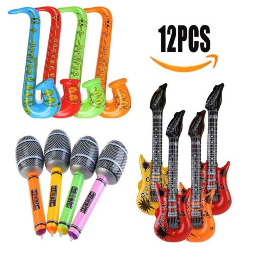 Inflatable Guitar Vakki 12pcs Inflatable Rock Star Toys Electric Guitars Musica