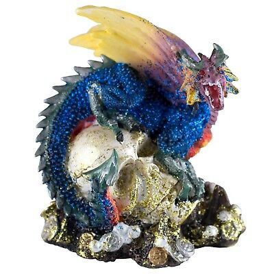 "Mini Magenta Glittery Dragon On Skull With Coins Figurine 3.25/"" High New!"