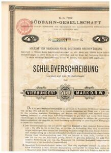 K.K. Priv. Südbahn-Gesellschaft, Wien 1885, 400 Mark, gelocht/ Kupons, VF