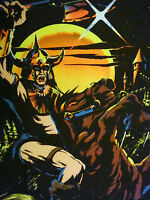 Vintage Neon Black Light Poster Knight C/c Sales 1984 Flocked H.g.g. Psychedelic