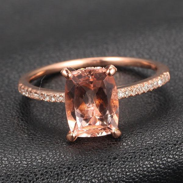 Cushion Morganite H/SI Diamond Claw Prongs 14K Rose Gold Engagement Wedding Ring