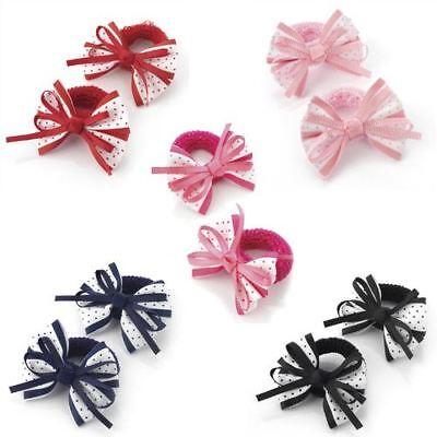 2pc FLOWER HAIR BAND ELASTIC BOBBLES PONIOS ENDLESS SNAG FREE BABY HAIR TODDLER