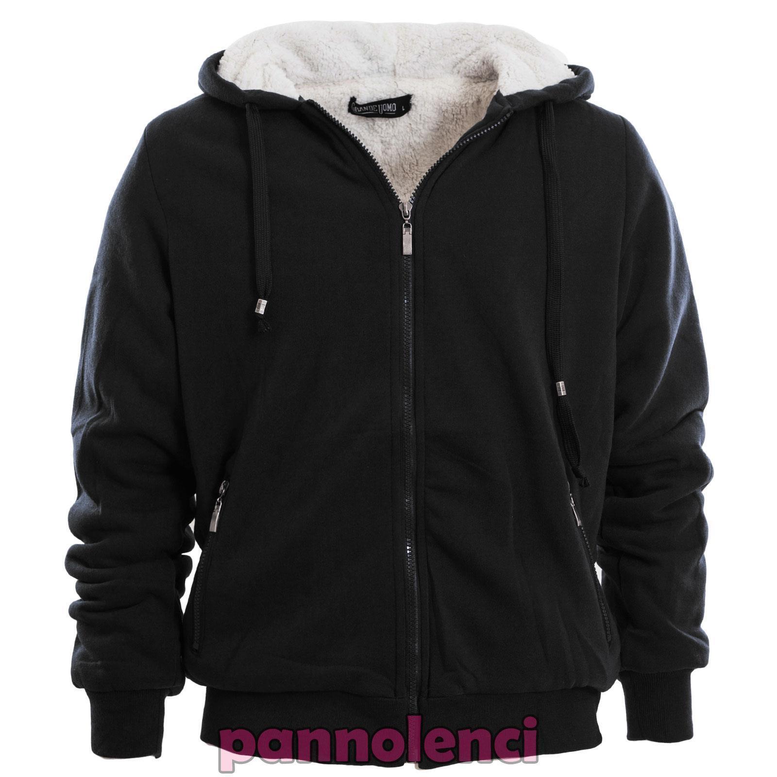 Felpa uomo cappuccio eco pelliccia zip giacchetto invernale caldo nuovo  FM1016  8bcb1572a45