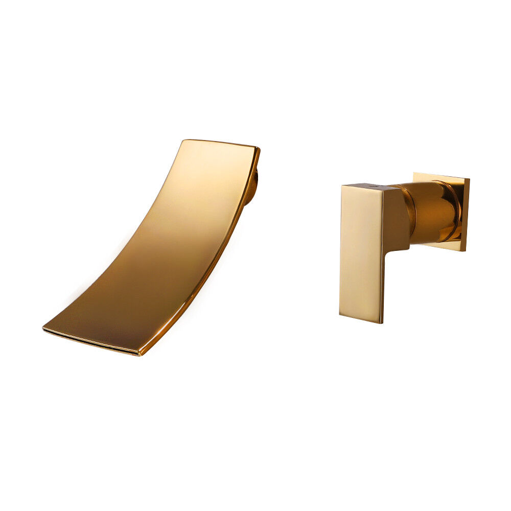 Bath Tub Basin Gold Waterfall Sink Faucet Faucet Faucet Widespread Wall Mount Mixer Brass Taps 74c05d