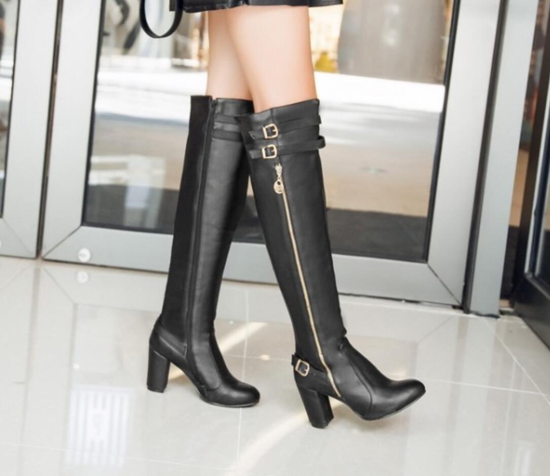 les femmes chics talons trapus boucle sangle genou côté haut hautes fermeture des bottes hautes haut et taille 3a8933