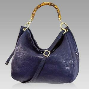 Plinio-Visona-Designer-French-Navy-Blue-Leather-Large-Bag-W-Bamboo-Handles