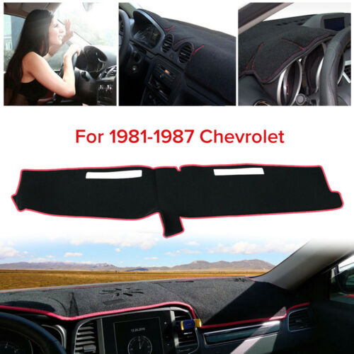 New Black//Red Dashmat Dash Cover Dashboard Mat For Chevrolet Full Size 1981-1987