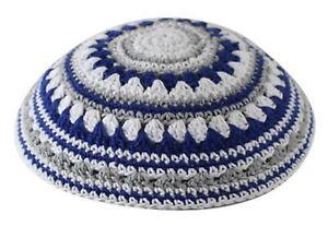 Kippa-Jewish-Menorah-Yarmulke-Israel-Zionist-Green-Knitted-Head-Covering-19cm