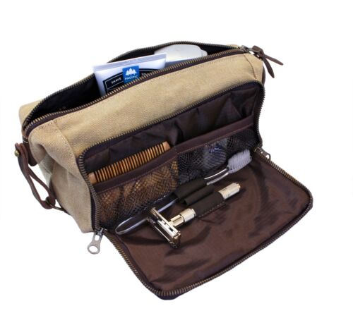 DOPP Kit Mens Toiletry Travel Bag YKK Zipper Canvas  Leather Medium, Khaki - 3