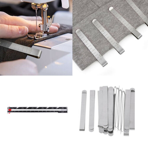 21Pack Metal Hem Curtain Clips Measuring Guides with Sewing Knitting Gauges
