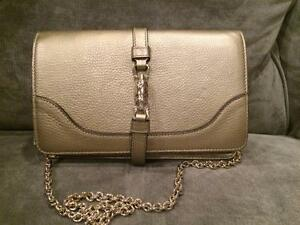 86462f2afc Image is loading GUCCI-Broadway-Metallic-Leather-Clutch-Shoulder-Bag-with-
