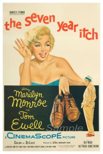 VINTAGE THE SEVEN YEAR ITCH MOVIE POSTER A3 PRINT