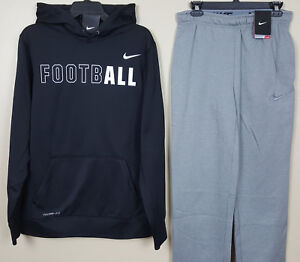 NIKE-FOOTBALL-THERMA-FIT-SWEATSUIT-HOODIE-PANTS-BLACK-GREY-NEW-SIZE-SMALL