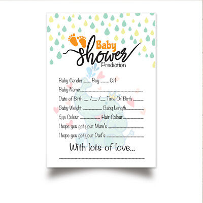 Baby Shower Prediction Game Cards | Boy, Girl, Unisex | FAST & FREE  DELIVERY | eBay