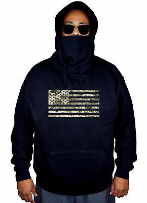 Men/'s 2ND AMENDMENT Camo US Flag Black Hoodie American USA Beast Army Sweater