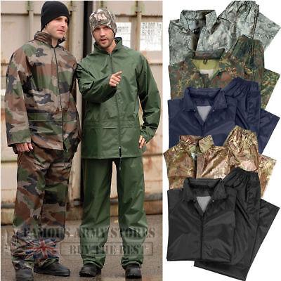Homme Camouflage Imperméable Pluie Ensemble Veste /& Pantalon Veste Pantalon Set Adulte