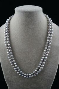 Natural-Pearl-46-034-long-Round-Baroque-9-8mm-Gray-Freshwater-Pearl-Necklace