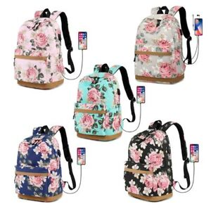 e6c62aee9f09 Image is loading Canvas-Flower-Backpack-Laptop-Travel-Daykpack-School-Bag-