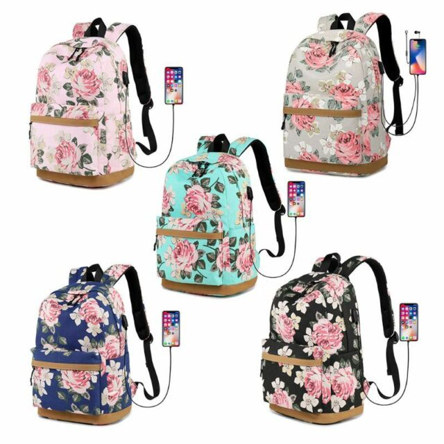 079a6515222a Canvas Flower Backpack Laptop Travel Daykpack School Bag Bookbags for Teen  Girls