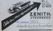 PUBLICITE ZENITH STROMBERG CARBURATEUR 32 NDIX POUR VOITURE DE 1955 FRENCH AD