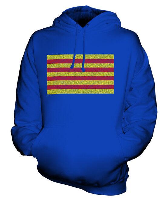 CATALONIA SCRIBBLE FLAG UNISEX HOODIE TOP GIFT CATALUNYA CATALONIAN