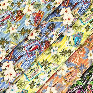 Cotton-Fabric-FQ-Hawaii-Island-Sea-Beach-Hibiscus-Floral-Coconut-Car-amp-Boat-VS20
