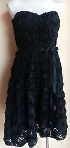Me-too-by-Matthew-Eager-Blk-Rose-Dress-Size-10-NWT-RRP-580-00