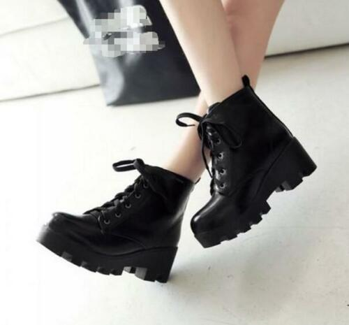 New Fashion Womens platform shoes Chunky Block Heel Ankle Boots Lace Up Stylish