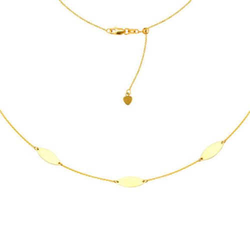 """Yellow Details about  / 14K Solid Gold Triple Marquise Choker Necklace 16/"""" Adjustable"""