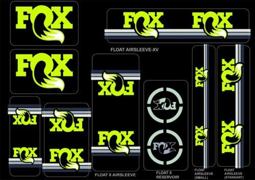FOX Racing Shox AM Heritage Sticker Decal 2015 Kit Fork//Shock Set Tennis Green