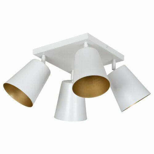 Weiß /& Gold 4xE27 max.60W Deckenlampe Metall famlights Deckenleuchte Mariam