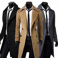 Formal Trench Coat Double Breasted Slim Peacoat Overcoat Men Long Jacket Outwear
